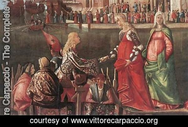 Vittore Carpaccio - Meeting of the Betrothed Couple and the Departure of the Pilgrims [detail: 1]