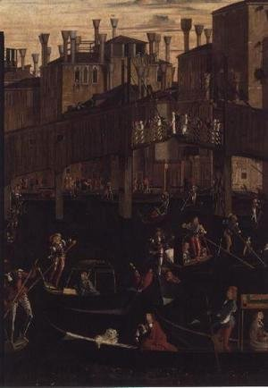 Wooden Rialto Bridge, from the Miracle of the Relic of the True Cross, 1494