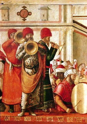 Vittore Carpaccio - St. George Baptising the Gentiles (detail of musicians on the left hand side) 1501-07