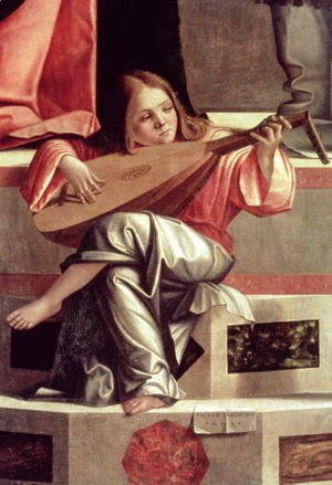 Vittore Carpaccio - Minstrel angel playing a lute, detail from The Presentation of Jesus in the Temple, 1510 (detail)