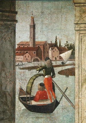Vittore Carpaccio - The Arrival of the English Ambassadors, from the St. Ursula Cycle, detail of a gondola, 1490-96