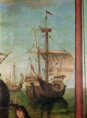 Vittore Carpaccio - The Meeting and Departure of the Betrothed, from the St. Ursula Cycle, detail of a ship, 1490-96