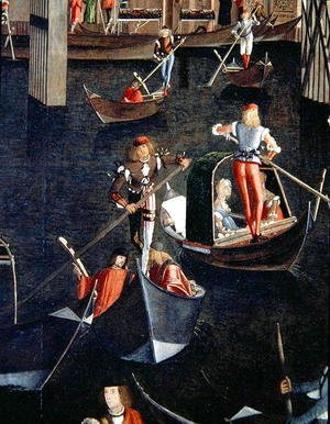 Vittore Carpaccio - Gondoliers on the Grand Canal, detail from The Miracle of the Relic of the True Cross on the Rialto Bridge, 1494