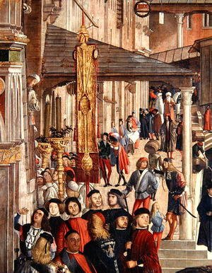 Vittore Carpaccio - Street Scene, detail from The Miracle of the Relic of the True Cross on the Rialto Bridge, 1494