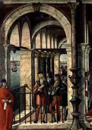 Vittore Carpaccio - The Arrival of the English Ambassadors, detail, from the St. Ursula cycle, 1498 (detail)