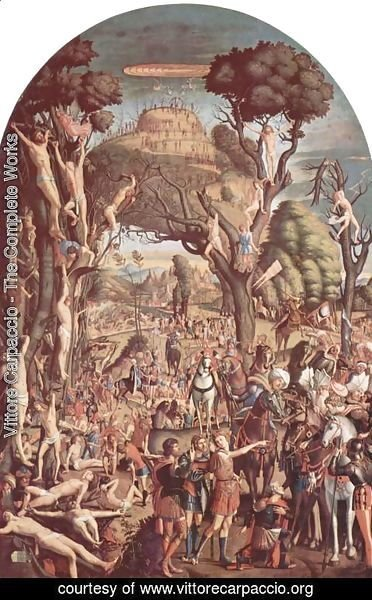Vittore Carpaccio - The Crucifixion and the Glorification the Ten Thousand Martyrs on Mt. Ararat