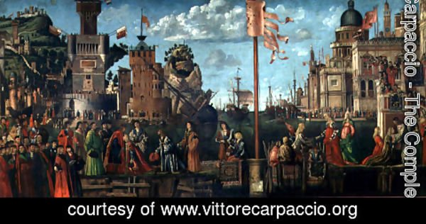 Vittore Carpaccio - The Meeting of Etherius and Ursula and the Departure of the Pilgrims, from the St. Ursula Cycle, originally in the Scuola di Sant'Orsola, Venice, 1498