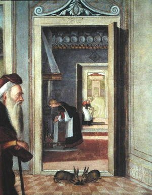 The Birth of the Virgin, detail of servants in the background, 1504-08