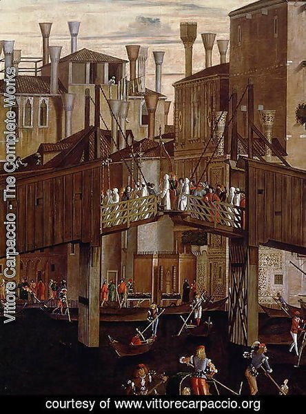 Vittore Carpaccio - The Miracle of the Relic of the Holy Cross, detail of the old Rialto Bridge, from the Scuola di San Giovanni Evangelista, c.1494