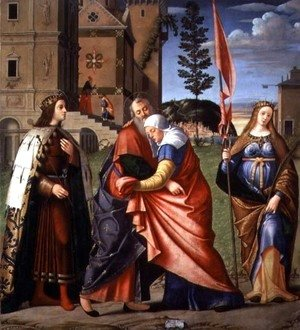 Vittore Carpaccio - The Meeting at the Golden Gate with Saints, 1515