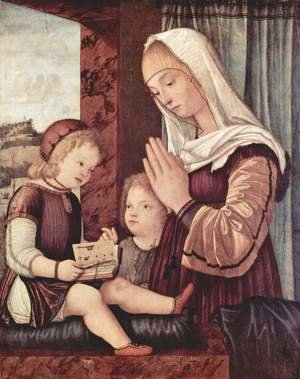 Vittore Carpaccio - Mary and John the Baptist praying to the Christ child