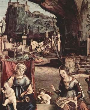 Vittore Carpaccio - Throne end of Madonna and Johannes of the Taeufer, Hl. Josef and Hl. Anna, Hl. Elizabeth and Hl. Zacharias,