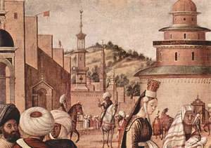 Vittore Carpaccio - Baptism of infidels by St. George, detail 3