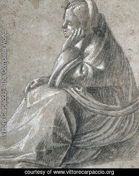 A seated woman in profile to the left, her hand supporting her head