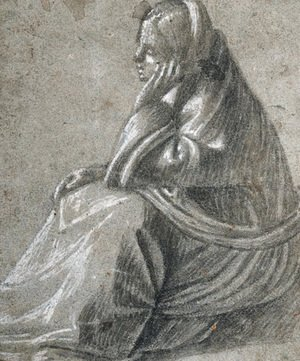 Vittore Carpaccio - A seated woman in profile to the left, her hand supporting her head
