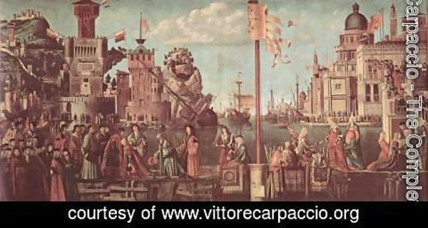 Vittore Carpaccio - Series of paintings to the legend of St. Ursula, scene of the encounter fiance and beginning of the pilgrimage