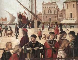 Vittore Carpaccio - Arrival of the English Ambassadors (detail 2) 1495-1500