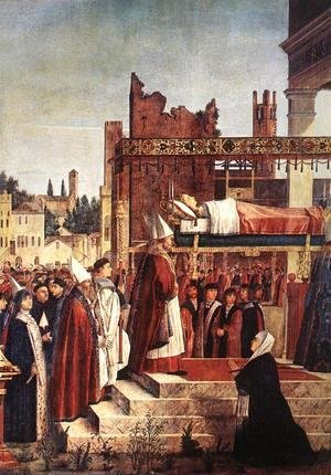 Vittore Carpaccio - Martyrdom of the Pilgrims and the Funeral of St Ursula (detail 2) 1493