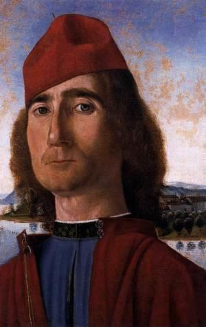 Vittore Carpaccio - Portrait of an Unknown Man with Red Beret 1490-93
